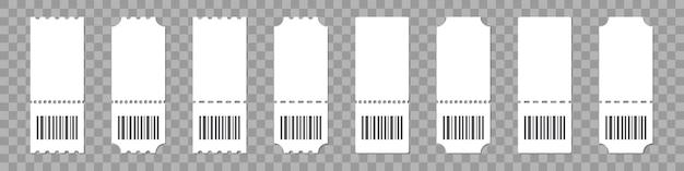 Conjunto de plantilla de ticket con código de barras sobre un fondo transparente