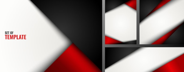 Conjunto de plantilla triángulo rojo y negro sobre fondo blanco.