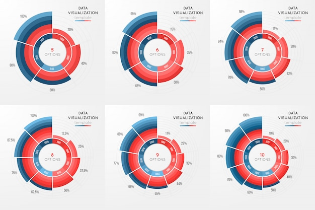 Conjunto de plantilla de vector círculo gráfico infografía para datos
