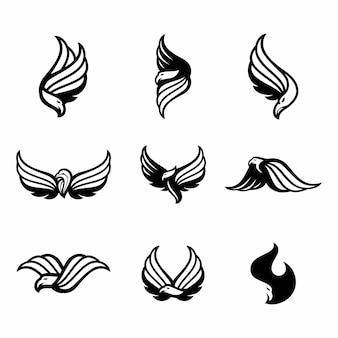Conjunto de plantilla de vector de diseño abstracto de logotipo de águila