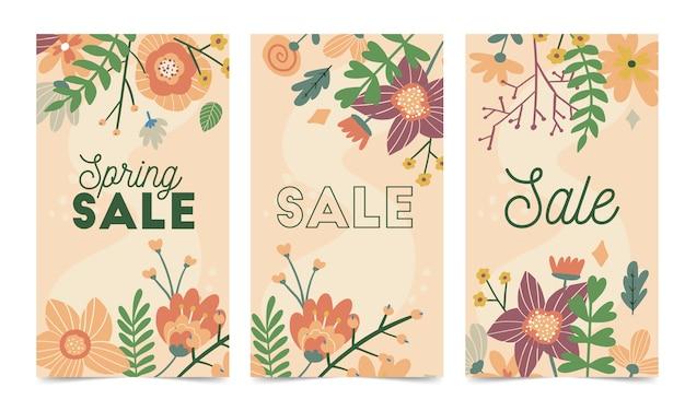 Conjunto de plantilla de vector de flores de primavera para la publicación de instagram, historias
