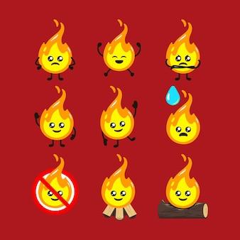 Conjunto de plantilla de vector de ilustración de diseño de mascota de fuego lindo