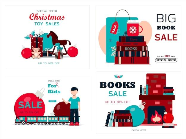 Conjunto de plantilla de vector de tarjetas de navidad para banner de vacaciones de invierno para venta de año nuevo viernes negro o ...