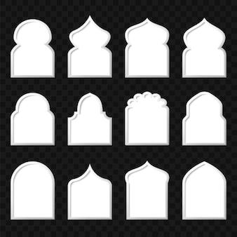 Conjunto de plantilla de ventanas árabes