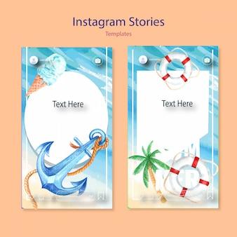 Conjunto de plantillas de acuarela de instagram