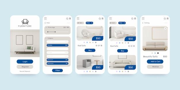 Conjunto de plantillas de aplicación de compra de muebles