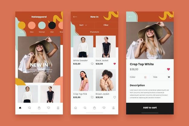 Conjunto de plantillas de aplicación de compras de moda