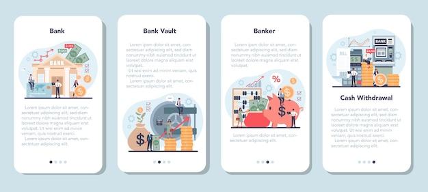 Conjunto de plantillas de aplicaciones móviles bancarias o bancarias.