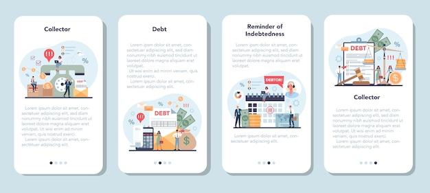 Conjunto de plantillas de aplicaciones móviles de cobrador de deudas.