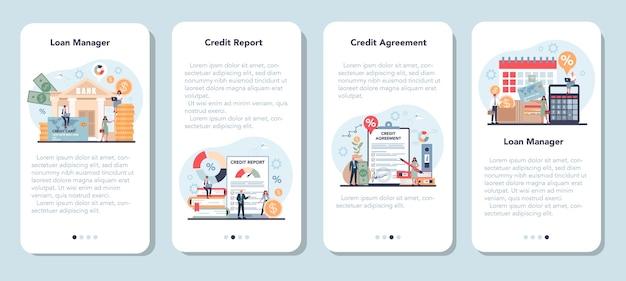 Conjunto de plantillas de aplicaciones móviles de loan manager.