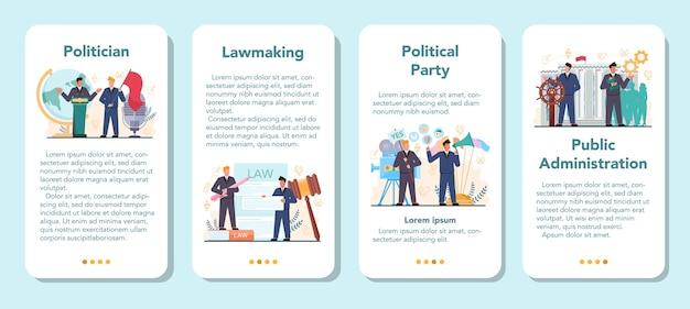Conjunto de plantillas de aplicaciones móviles de políticos.