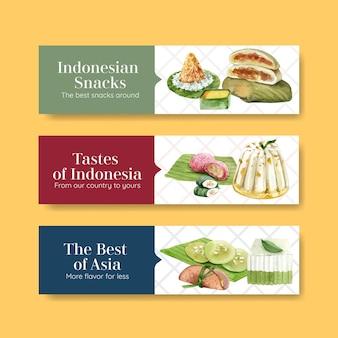 Conjunto de plantillas de banner de bocadillos de indonesia