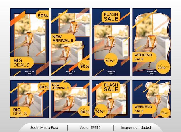 Conjunto de plantillas de banner de comida amarilla minimalista