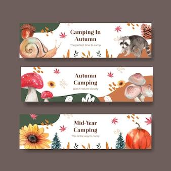 Conjunto de plantillas de banner con concepto de campamento de otoño, estilo acuarela