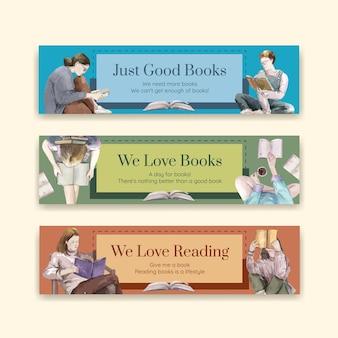 Conjunto de plantillas de banner del día mundial del libro