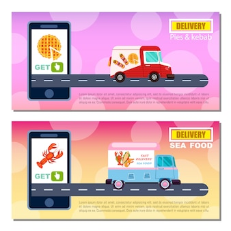 Conjunto de plantillas de banner de entrega de pasteles y kebab y mariscos