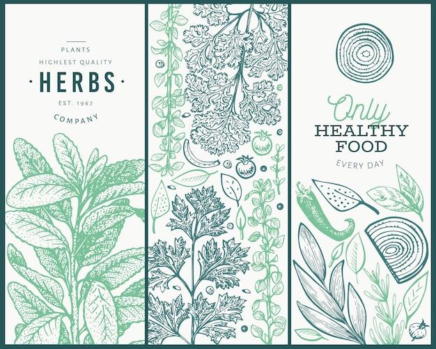 Conjunto de plantillas de banner de hierbas culinarias de árbol.