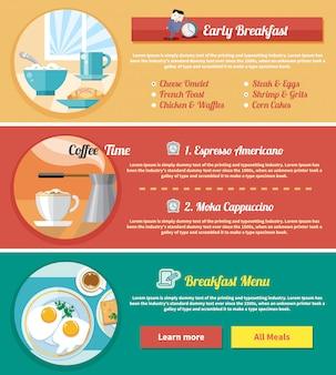 Conjunto de plantillas de banner para la hora del desayuno. huevos fritos con taza de café.