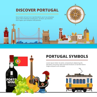 Conjunto de plantillas de banner con ilustraciones de objetos culturales portugueses.
