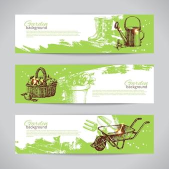 Conjunto de plantillas de banner de jardinería de croquis. ilustraciones vintage dibujadas a mano