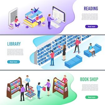 Conjunto de plantillas de banner de libro de lectura isométrica. libros de la biblioteca en línea con marcador, libro electrónico de lectura y libro de texto de investigación