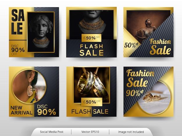 Conjunto de plantillas de banner de moda negro y dorado