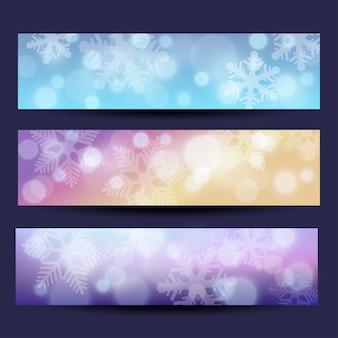 Conjunto de plantillas de banner navideño con efecto bokeh