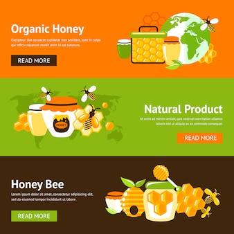 Conjunto de plantillas de banner plano de miel