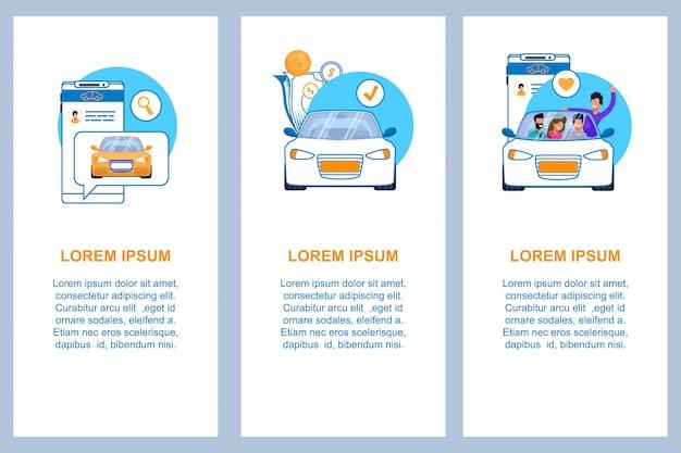 Conjunto de plantillas de banner plano vertical servicio de coche. ejemplo del concepto automotriz moderno del negocio del paseo alquiler de coches, anuncio compartido o taxi. aplicación de teléfono móvil con chat para ordenar.