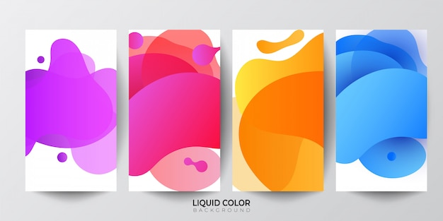Conjunto de plantillas de banner de venta de ondas gradiente líquido plástico