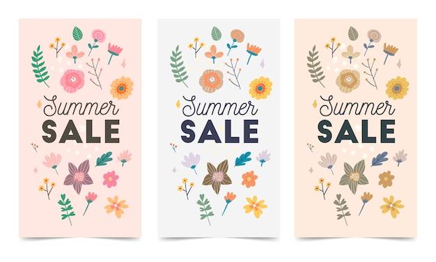 Conjunto de plantillas de banner web abstracto con fondo floral. diferentes tamaños