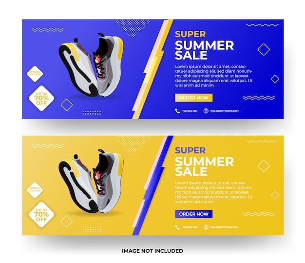 Conjunto de plantillas de banner web de venta de verano moderno