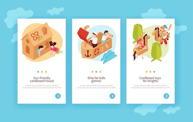 Conjunto de plantillas de banners verticales de juguetes ecológicos para niños de niños jugando con cartón casa barco caballo isométrico