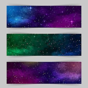Conjunto de plantillas de banners web con forma abstracta y estrellas.