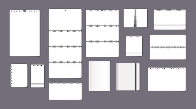 Conjunto de plantillas de calendario de bloc de notas de papel realista. pared y mesa en blanco con recordatorios de escritura de primavera
