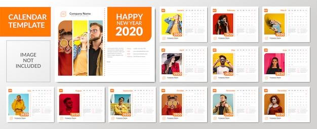Conjunto de plantillas de calendario de escritorio minimalista 2020