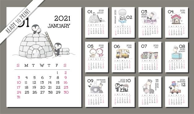 Conjunto de plantillas de calendario lindo animal 2021