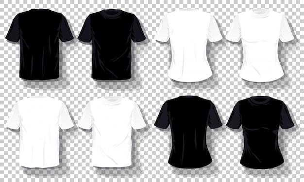 Conjunto de plantillas de camisetas blancas negras aislado, camisetas dibujadas a mano transparentes