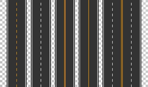 Conjunto de plantillas de carreteras asfaltadas rectas. fondo de carretera sin problemas.