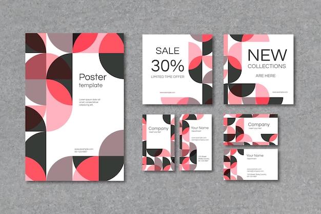 Conjunto de plantillas de cartel y tarjeta de visita con estampado geométrico rosa
