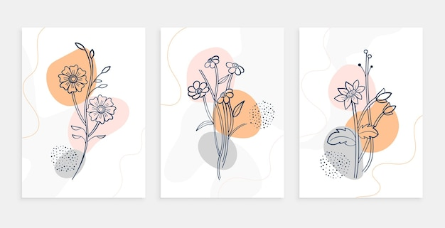 Conjunto de plantillas de carteles de arte de línea de flores botánicas