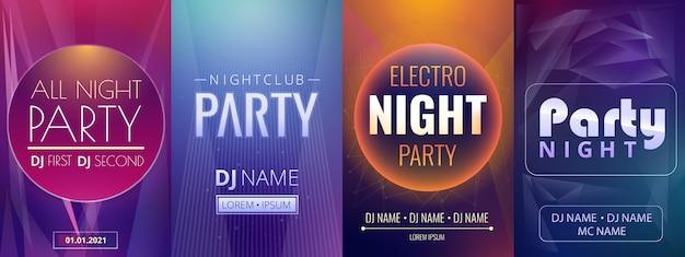 Conjunto de plantillas de carteles de dj party night, estilo de dibujos animados