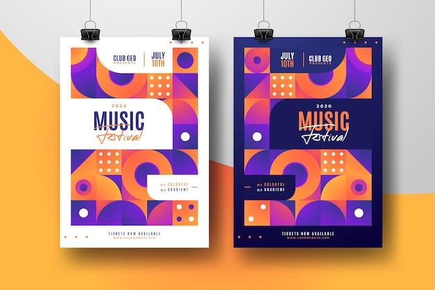 Conjunto de plantillas de carteles de festival de música abstracta