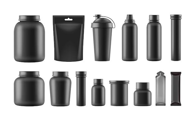 Conjunto de plantillas de contenedores de nutrición deportiva aislado sobre fondo blanco.