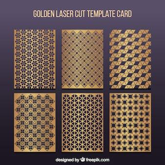Conjunto de plantillas de corte láser doradas