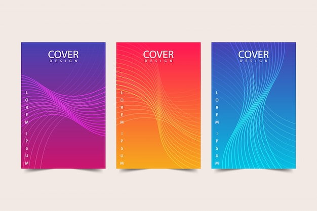 Conjunto de plantillas de cubierta colorida abstracta