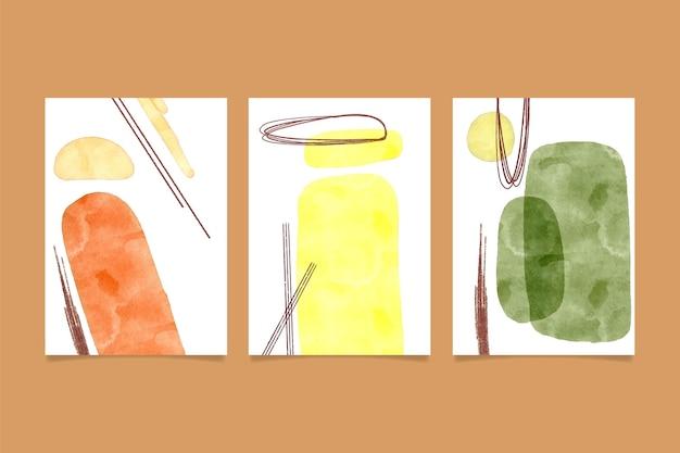 Conjunto de plantillas de cubiertas de formas abstractas de acuarela