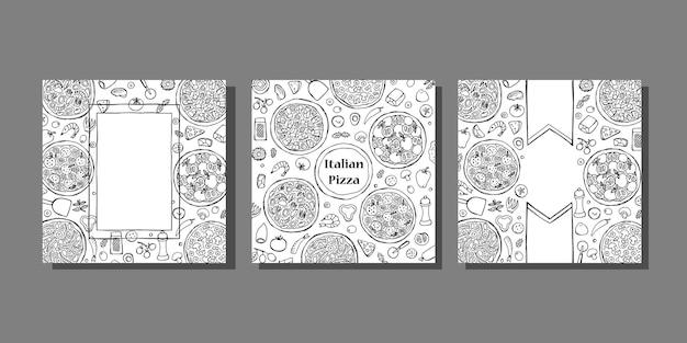 Conjunto de plantillas de cubiertas de pizza italiana dibujadas a mano