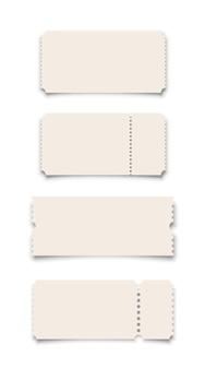 Conjunto de plantillas de cupones o boletos blancos sobre fondo blanco.
