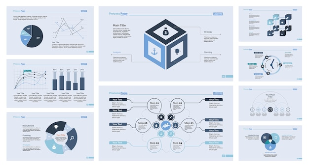 Conjunto de plantillas de diapositivas de nueve economías